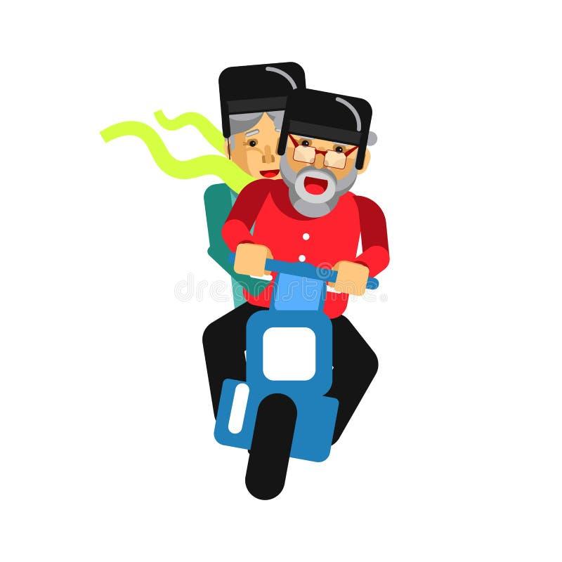 Grandparents driving on motorbike on white. Vector illustration. Grandparents driving on motorbike on white. Happy grandmother and grandfather on motorcycle stock illustration