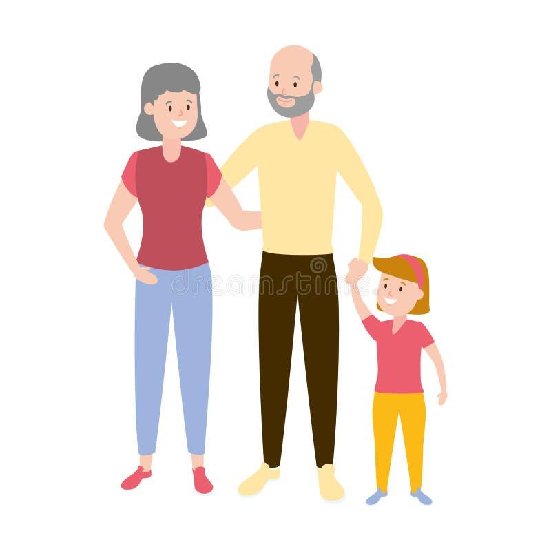 Grandparents e neta ilustração do vetor