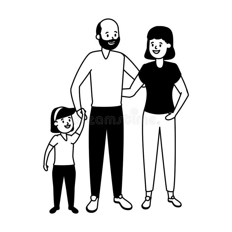 Grandparents e neta ilustração royalty free