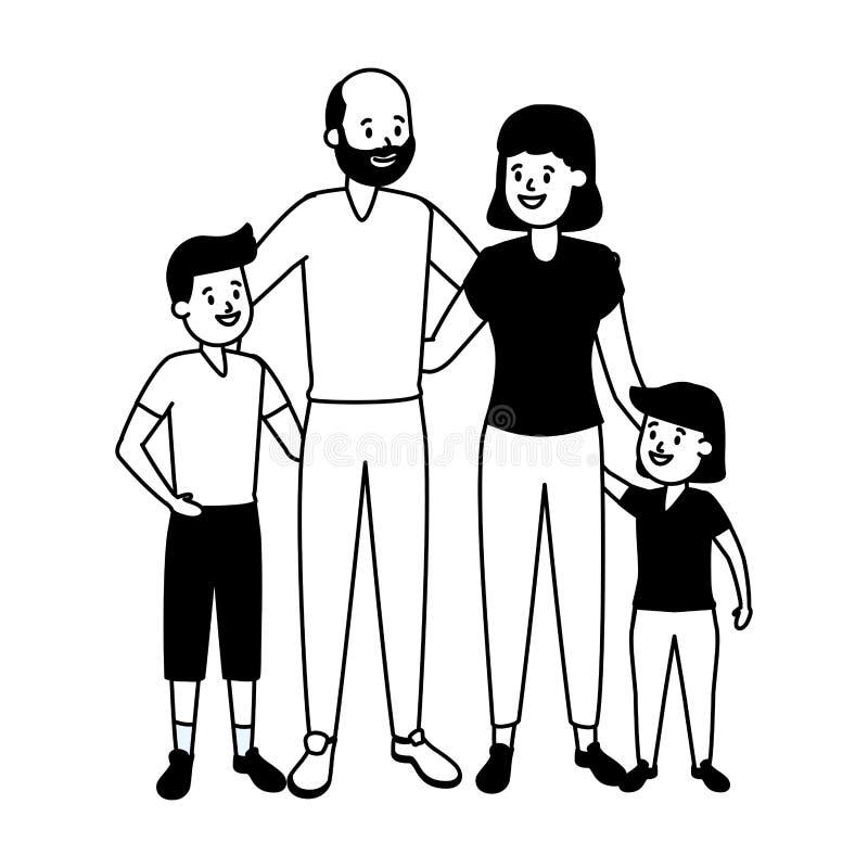 Grandparents e neta ilustração stock