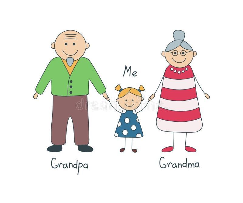 Grandparents e neta felizes Desenho do ` s das crianças Vetor ilustração royalty free