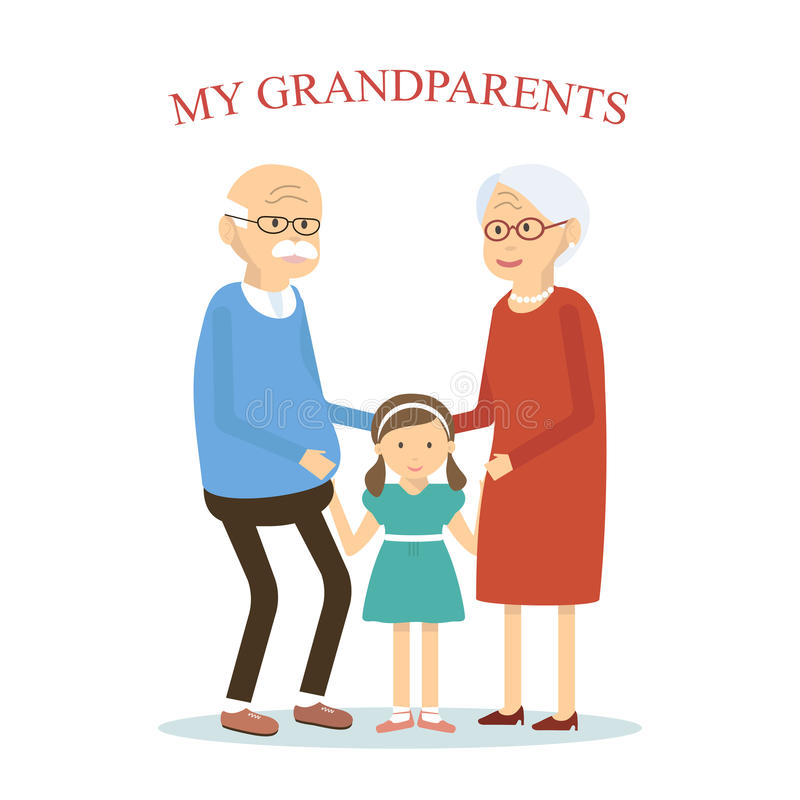 Grandparents Family with Grandchild. An elderly couple hugging her granddaughter. Old man and woman with little girl. Vector illustration flat design royalty free illustration