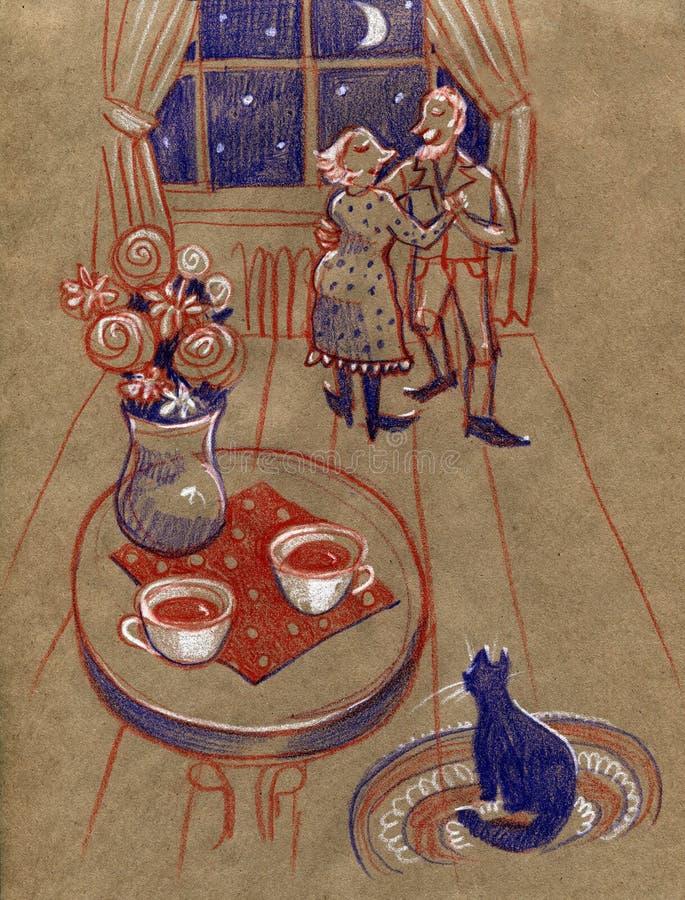 Grandparents felizes Avó e avô Dança do homem mais idoso e da mulher Mão - ilustração da tração ilustração stock