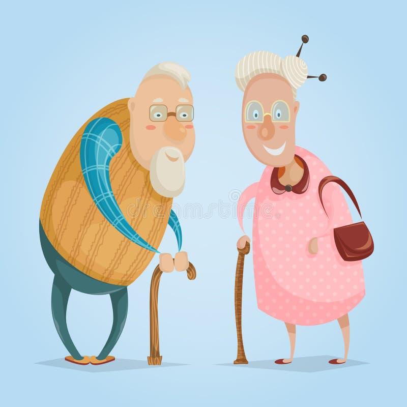 Grandparents felizes Caráteres do monstro na cidade Cartaz feliz do dia das avós ilustração do vetor