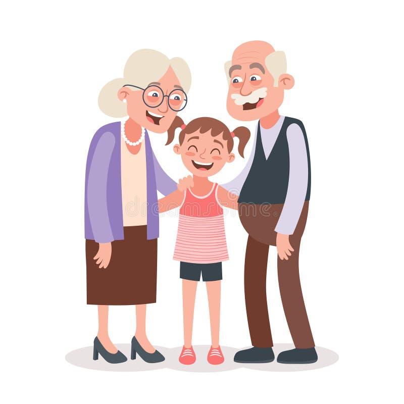 Grandparents felizes com sua neta ilustração royalty free