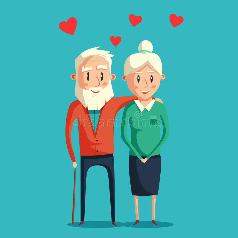 Grandparents felizes Ilustração dos desenhos animados do vetor ilustração royalty free