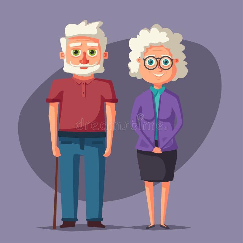 Grandparents felizes Ilustração dos desenhos animados do vetor Dia das avós ilustração royalty free