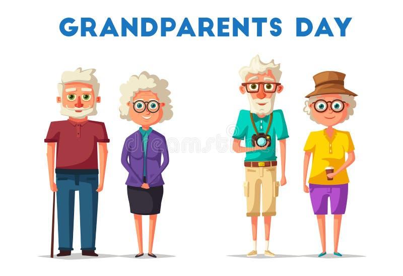 Grandparents felizes Ilustração dos desenhos animados do vetor Dia das avós ilustração stock