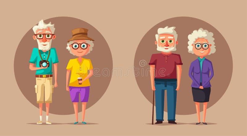 Grandparents felizes Ilustração dos desenhos animados do vetor Dia das avós ilustração do vetor