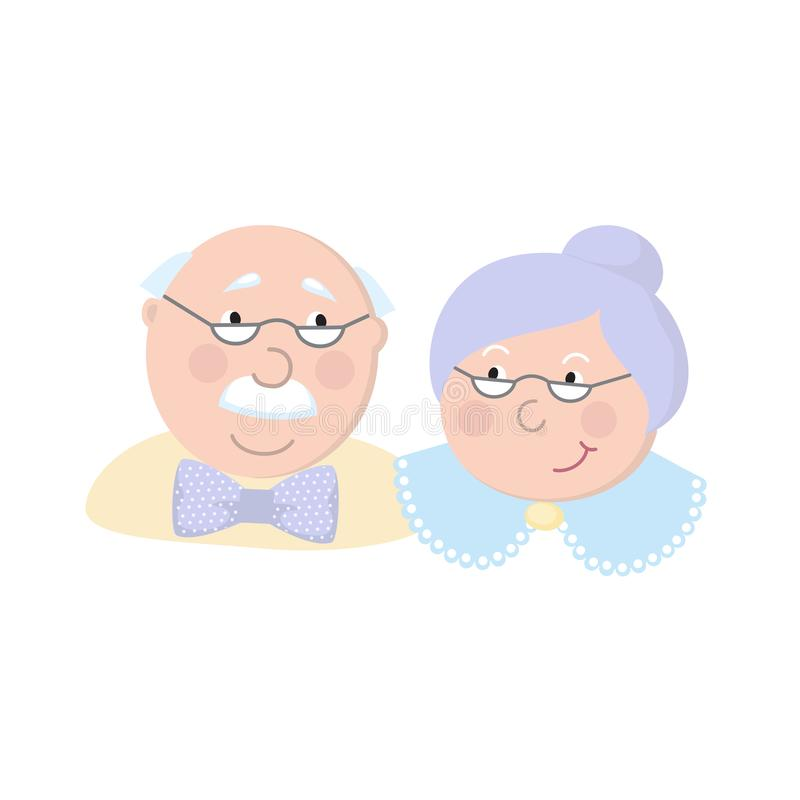 Grandparents felizes Ilustração dos desenhos animados do vetor Dia das avós Pares idosos Amor ilustração royalty free