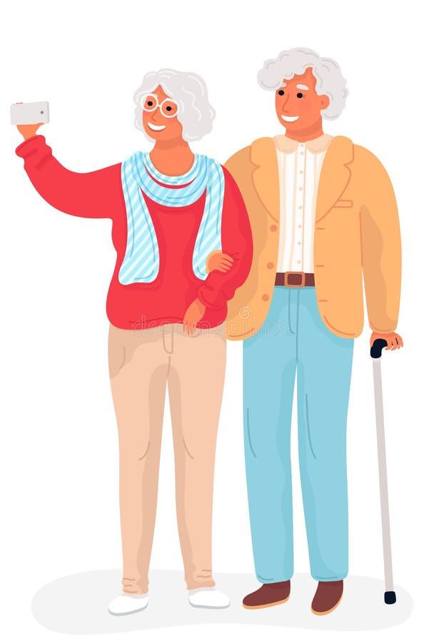 Grandparents felizes Ilustração lisa dos desenhos animados do vetor Vovô e avó que tomam a posição da foto do selfie o compriment ilustração stock