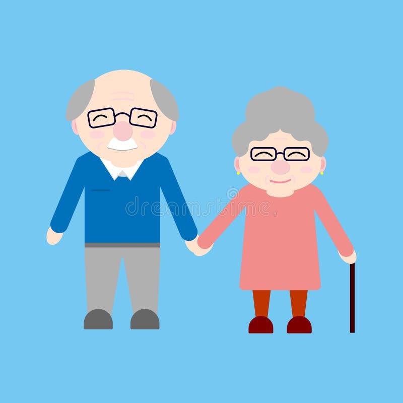 Grandparents felizes Pessoas adultas Dia do ` s da avó ilustração do vetor