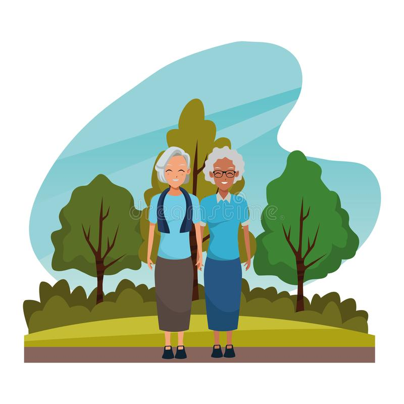 Grandparents friends couple smiling cartoon. In nature outdoors scenery ,vector illustration graphic design vector illustration