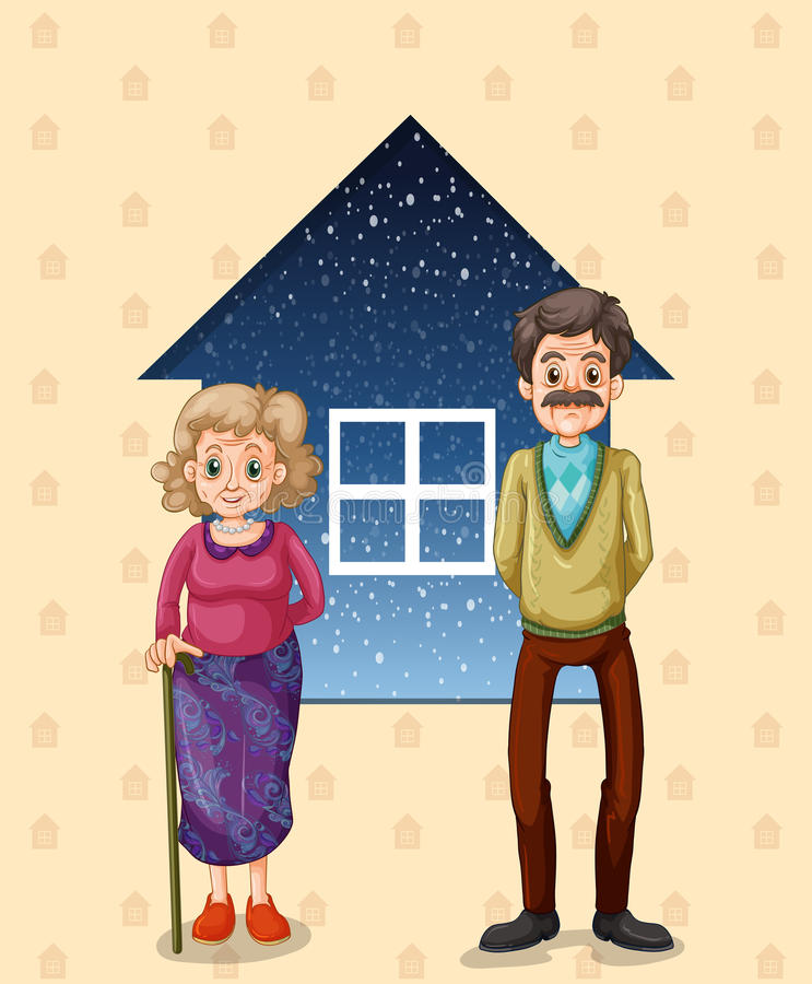 Grandparents in front of the small house royalty free illustration