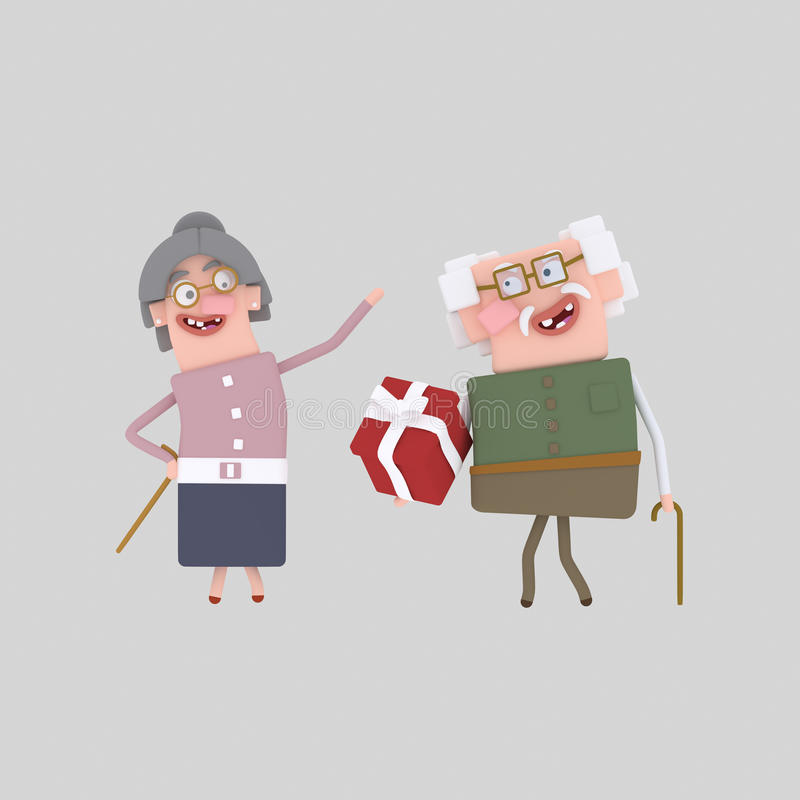 Grandparents with gift. 3D. Custom 3d illustration, contact me royalty free illustration