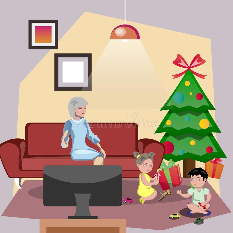 Grandparents giving gift Christmas their grandchildren. Vector illustration stock illustration