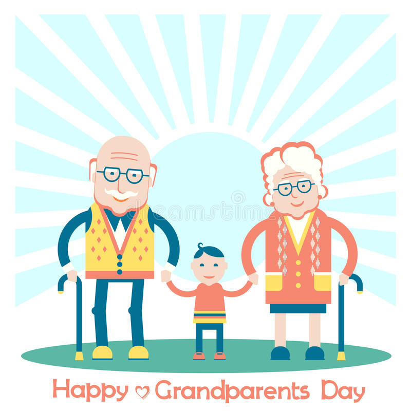 Grandparents with grandchild. vector illustration