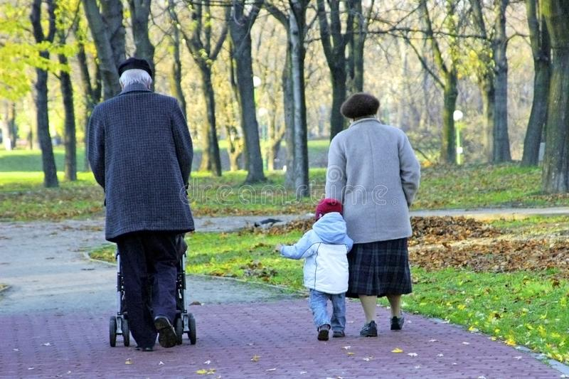 Grandparents and grandchild walking in the park stock image