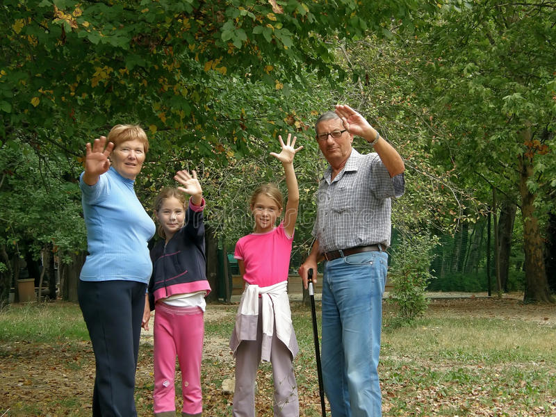 Grandparents and grandchildren royalty free stock image