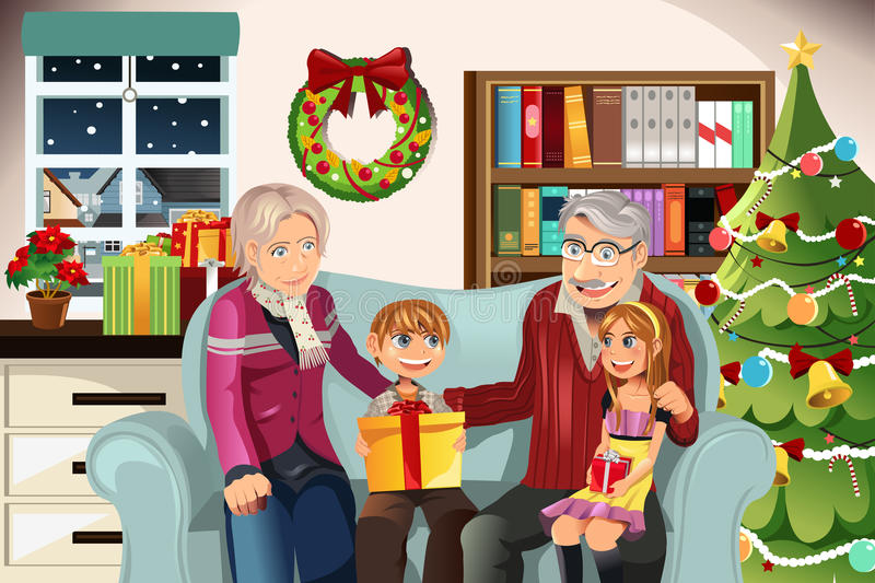 Grandparents and grandchildren on Christmas time royalty free illustration