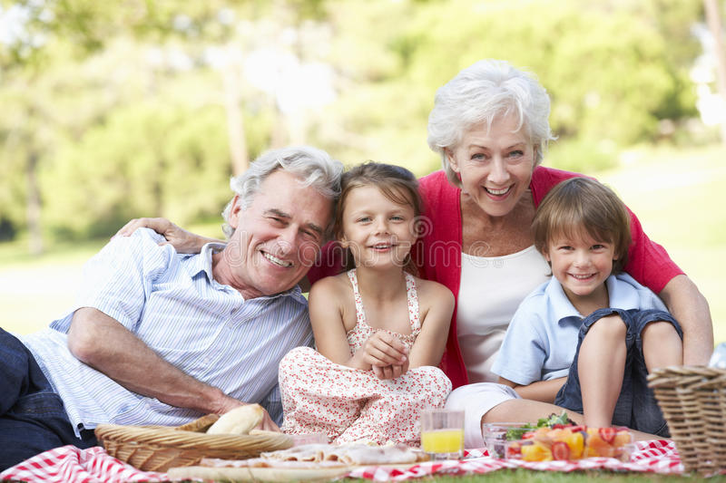 Grandparents And Grandchildren Enjoying Picnic Together stock photography