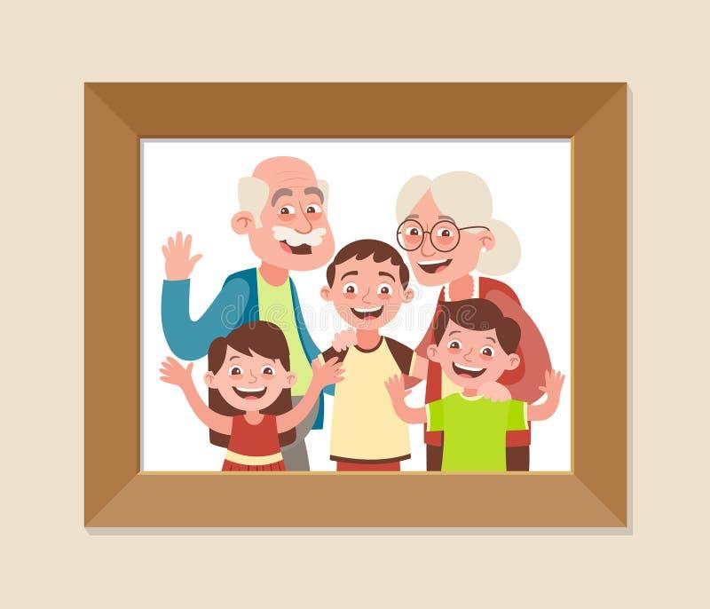 Grandparents With Three Grandchildren Photo Frame Stock Illustration ...
