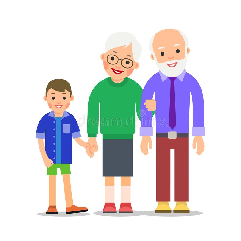 Grandparents and grandchildren. Grandma, grandpa and grandson. Grandmother holding boy hand and holds grandfather hand. royalty free illustration