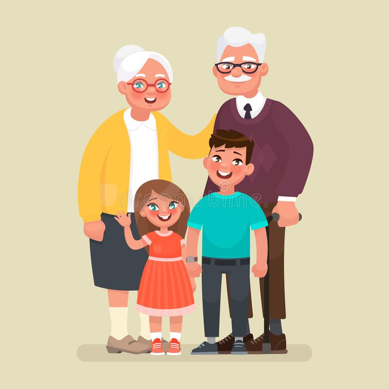 Grandparents with grandchildren. Vector illustration in cartoon style royalty free illustration