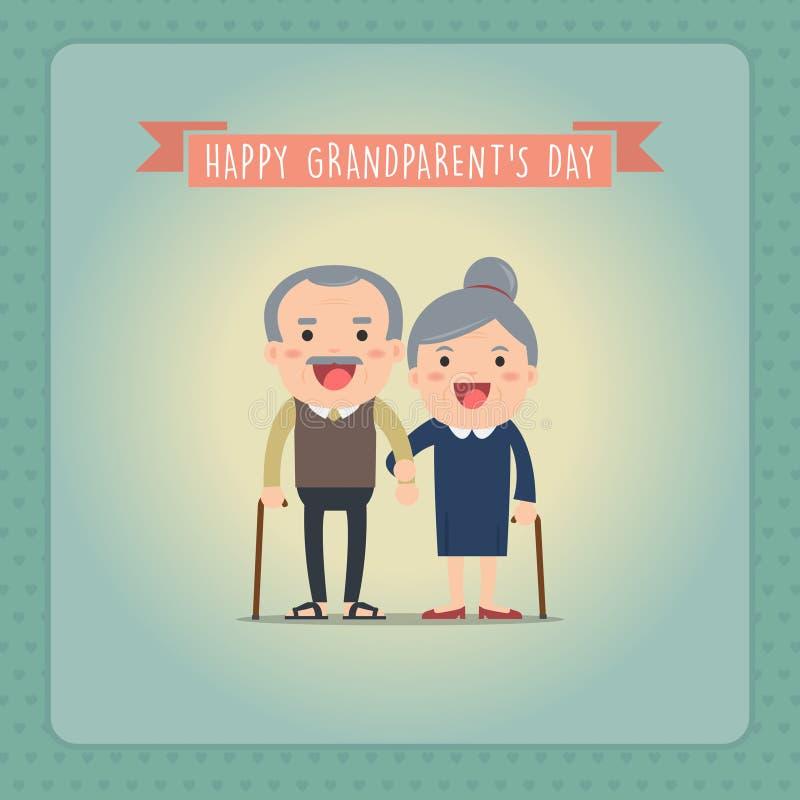 Grandparents and grandchildren. Happy grandparents with their grandchildren taking a walk. Grandparents` Day stock illustration