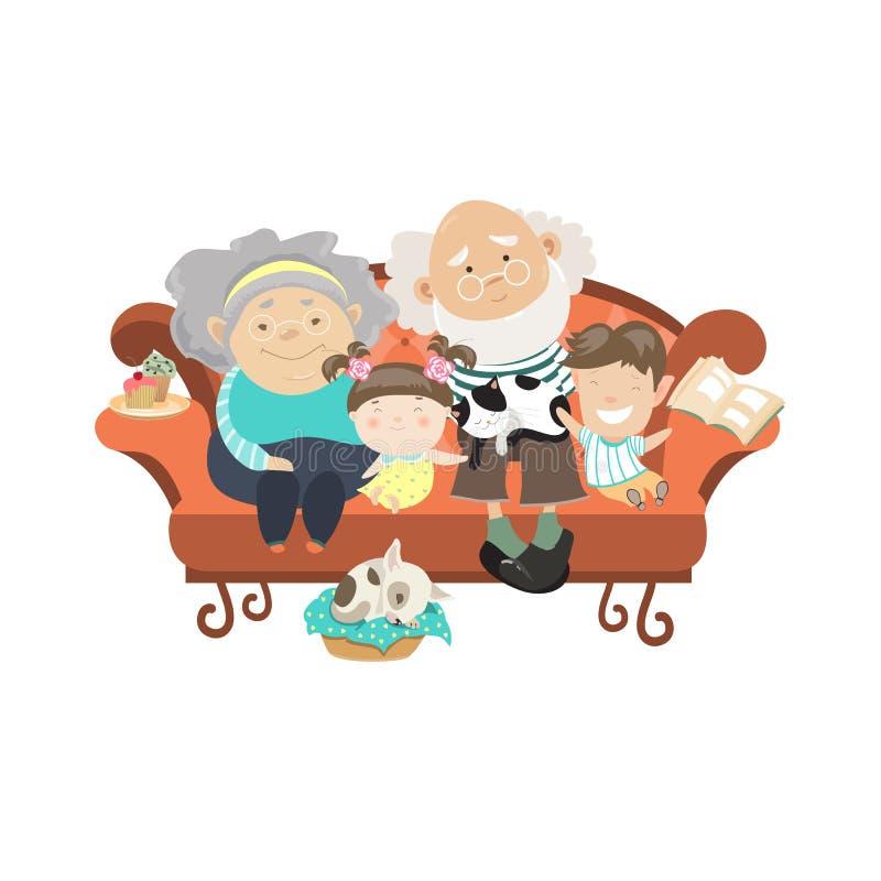 Grandparents and grandchildren. Happy grandparents with their grandchildren. Vector illustartion vector illustration