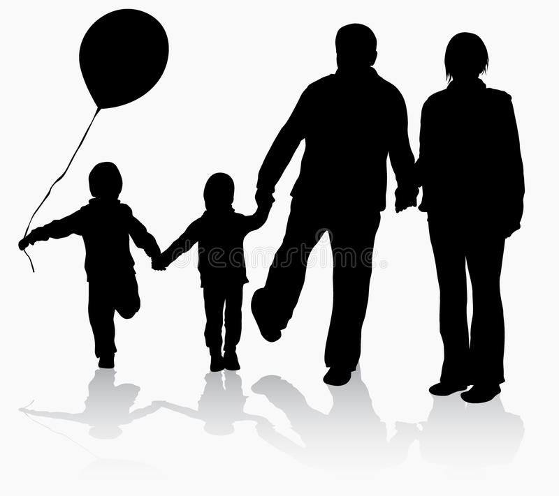 Grandparents with grandchildren silhouettes. With balloon royalty free illustration