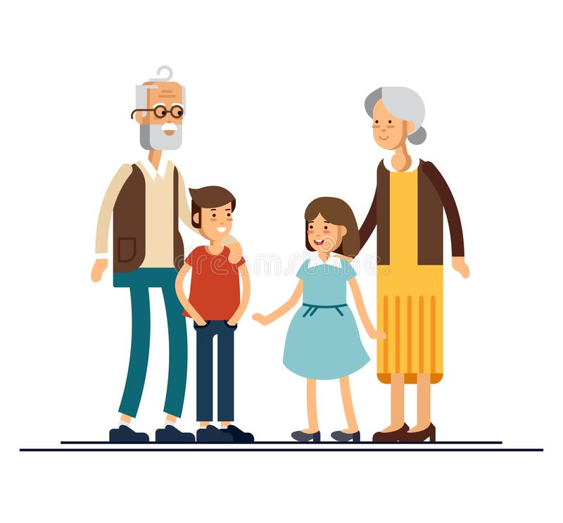 Grandparents with grandchildren vector flat design illustration. Relatives standing together. Grandmother, grandfather. And siblings. Happy family characters vector illustration
