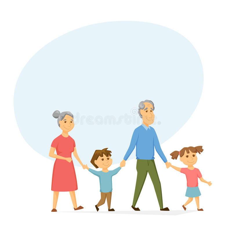 Grandparents with grandchildren. Walking. Old people have leisure with kids. Grandma and Grandpa hold hands girl and a boy. Seniors activity. Happy family royalty free illustration