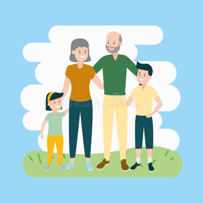 Grandparents and granddaughter. Grandson vector illustration design vector illustration