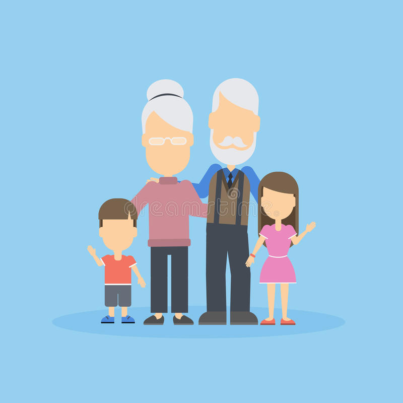 Grandparents with grandkids. Happy family portrait on blue background royalty free illustration