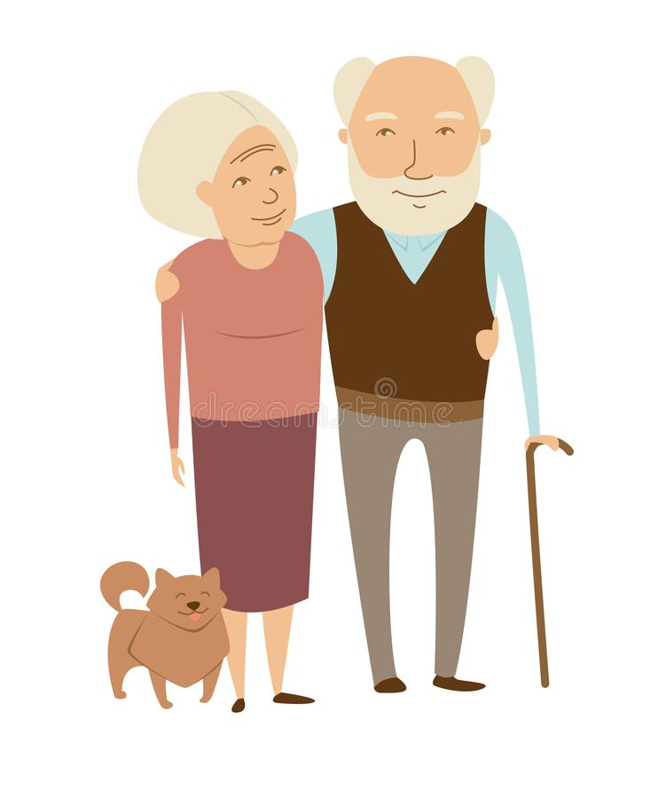 Grandparents grandmother and grandfather couple with dog portrait. Flat style design illustration royalty free illustration