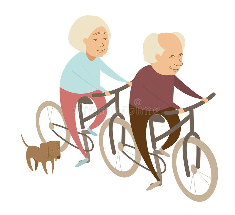 Grandparents grandmother and grandfather couple with dog riding bicycle tandem vector illustration