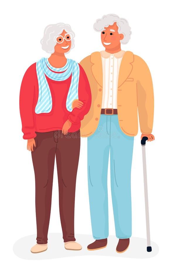 Счастливые деды Иллюстрация мультфильма вектора плоская Grandpa и бабушка стоя во всю длину держащ руки иллюстрация вектора