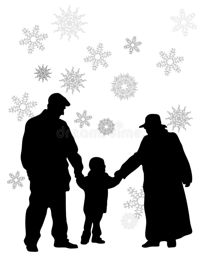 Grandparents with grandson. Vector grandparents with grandson silhouette vector illustration