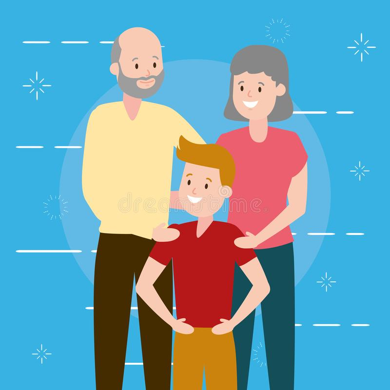 Grandparents and grandson. Family vector illustration design royalty free illustration