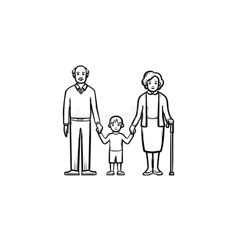 Grandparents and grandson hand drawn sketch icon. vector illustration