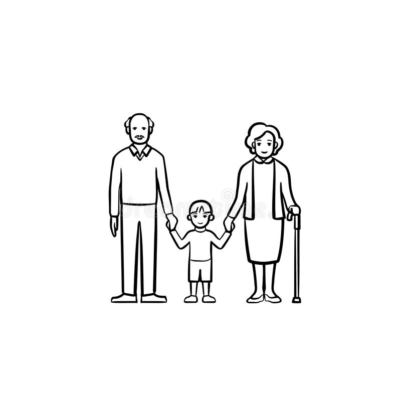 Grandparents and grandson hand drawn sketch icon. Grandparents and grandson hand drawn outline doodle icon. Happy family together - grandfather, grandmother and royalty free illustration