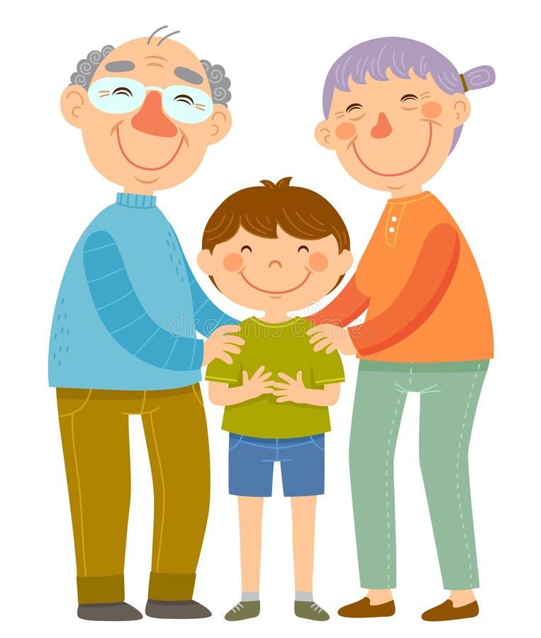 Grandparents and grandson stock illustration