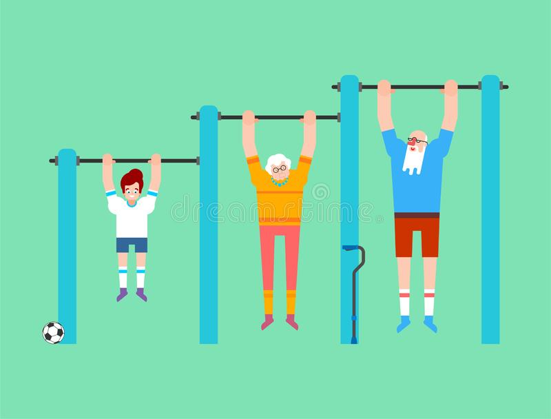 Grandparents and grandson on horizontal bar. Pull up Grandmother and grandfather street workout. Old man Sport. Fitness for vector illustration