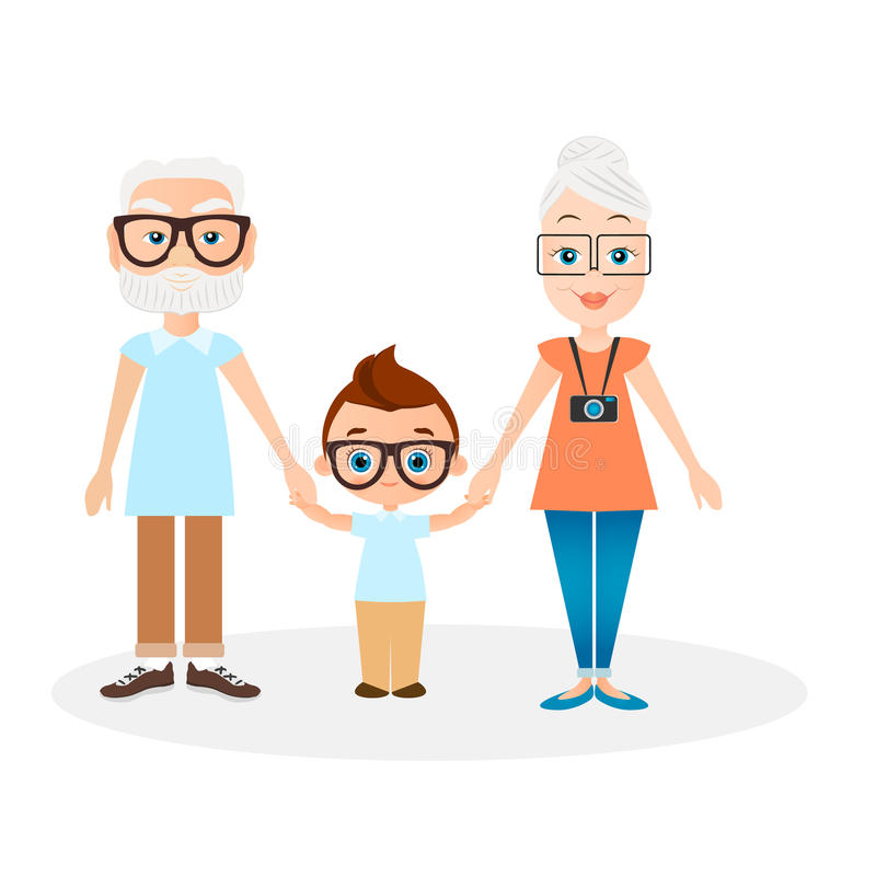 Grandparents with grandson. Vector illustration eps 10 isolated on white background. Flat cartoon style. Grandparents with grandson. Vector illustration eps 10 royalty free illustration