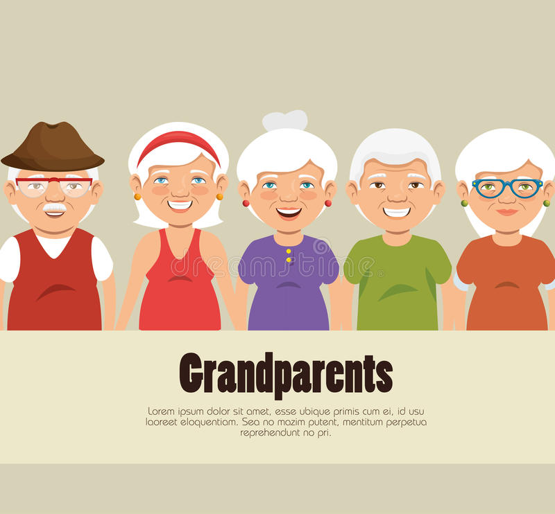 Grandparents group avatars characters. Illustration design stock illustration
