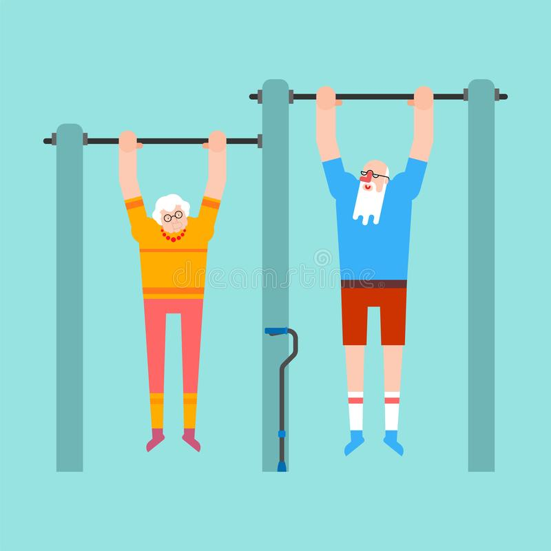 Grandparents on horizontal bar. Pull up Grandmother and grandfather street workout. Old man Sport. Fitness for seniors.  vector illustration