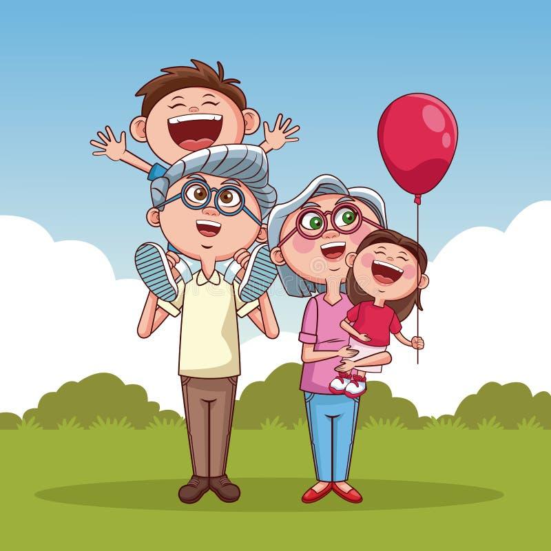 Grandparents and kids vector illustration