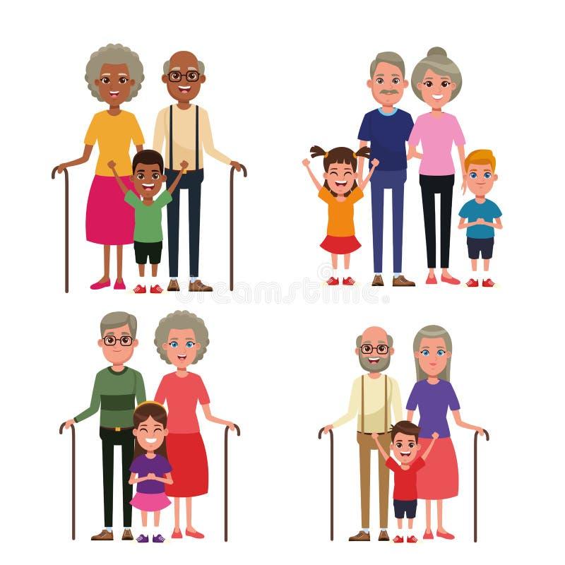 Grandparents with kids. Grandson and granddaughter vector illustration graphic design stock illustration