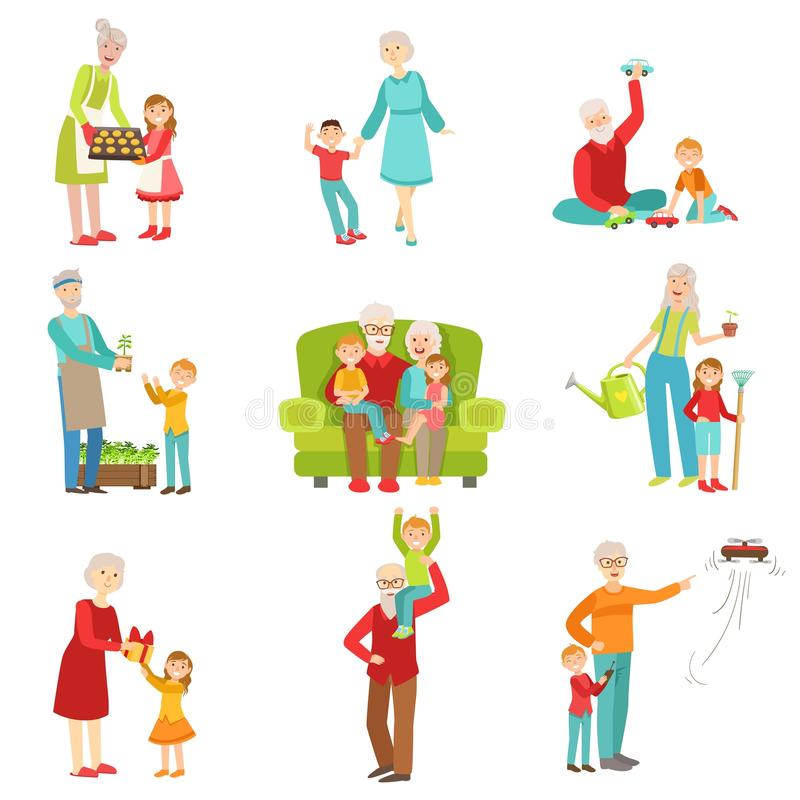 Grandparents And Kids Having Fun Together Set Of Illustrations. Grandparents And Kids Having Fun Together Set Of Drawings. Simple Bright Vector Illustrations vector illustration